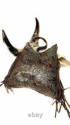 Raviani Western Bag In Brown Speckle Hair On & TQ Tooled Leather With Fringe
