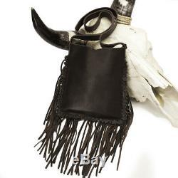 Raviani Western Brown Leather Crossbody With American Original Logo & Fringe-Studs