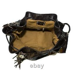 Raviani Western Brown Pebble grain & Brindle Leather Drawstring Bag With Crystals