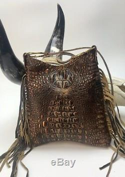 Raviani Western Fringe Bag WithFloral Acid Wash & Brown Crocodile Leather &Concho