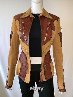 Roberto Cavalli Tan Suede Brown Tooled Rosette Leather Western Jacket Size S