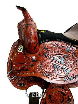 Rodeo Show Western Saddle 15 16 Pleasure Trail Tooled Leather Barrel Racing Tack