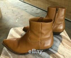 SAINT LAURENT Santiag Brown Camel Leather Western Ankle Zip Stack Boot 38.5/8.5