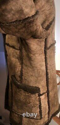 SHEEPSKIN SHEARLING Ranch Coat SEARS Vtg MARLBORO MAN Leather Jacket Sz 44 Tall