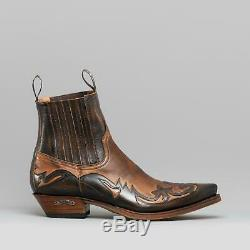 Sendra 4660 Mens Leather Pointed Cuban Heel Western Cowboy Boots Brown/Tan New