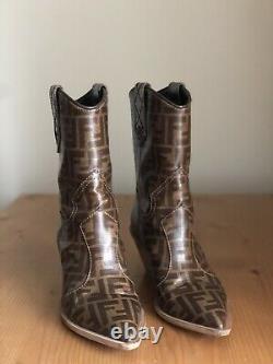 Stunning Auth Fendi Runway Zucca Monogram Leather Cowboy Boots EU 38,5 US 8,5