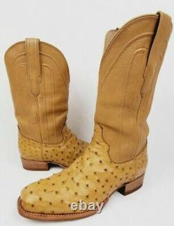 Tecovas The Carter Full Quill Ostrich Cowboy Boot Mens 10 Tan Discontinued Color