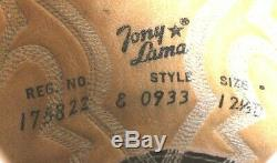 Tony Lama 0933 El Rey Elephant Vtg Pull-On Brown Cowboy Boots Men's US 12.5D