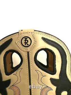 Tony Lama 3R Square Toe Cream Tan/Black Tall Buckaroo Cowboy Boots Size 7.5-B