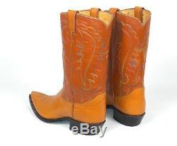 Tony Lama Classic Cowboy Boots Men's Sz 10D Tan Brown Vintage 1960's