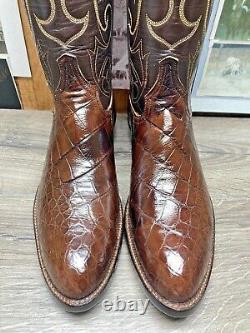 Tony Lama El Rey 10.5d Exotic Bias Cut American Alligator Mens Cowboy Boots