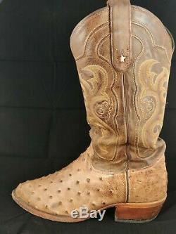 Tony Lama Men's Vintage Full Quill Ostrich Cowboy Boots 8965 Size 10.5D