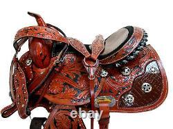 Trail Saddle Deep Seat Western Horse Tooled Leather Show Pleasure Tack Set 15 16