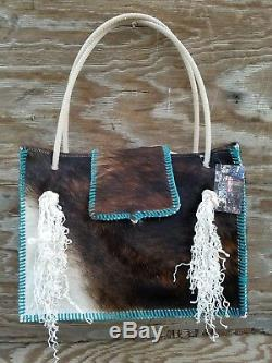 Turquoise Western Leather Cowhide Diaper Bag Tote with Calf Rope Rodeo Purse BK46