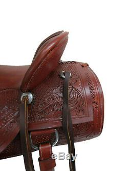 Used Ranch Wade Roping Western Saddle Working Cowboy Tooled Leather 15 16 17 Set