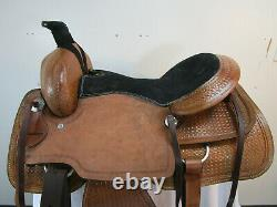 Used Western Saddle 16 17 Pleasure Horse Tooled Leather Roping Eanch Tack Set