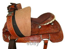 Used Western Saddle 17 16 Roping Ranch Pleasure Horse Trail Tooled Leather Tack