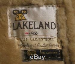 VTG LAKELAND SHEARLING SHEEPSKIN MARLBORO MAN WESTERN RANCHER COAT Sz 42 LARGE