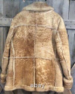 VTG MAKRAY Mens Sheerling Sheepskin Rancher Marlboro Longmire Coat US42 EUC