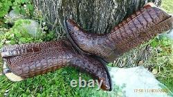 Vintage 100% Full American Alligator Crocodile Exotic Western Boots Men 12 Ee