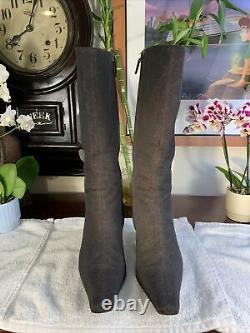 Vintage 1990s 2000 Chocolate Brown Gucci GG Monogram Heeled Boots Sz 7.5B +Bag