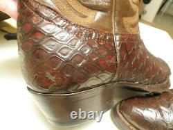 Vintage EXOTIC TONY Lama PIRARUCU Alligator BLACK Cherry Cowboy Boots 11.5 D-BUY