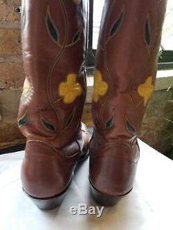 Vintage Larry Mahan Rare Womens size 8B Inlaid Tall Cowboy Boots