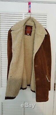 Vintage Leather Suede Sherpa Western Rancher Coat Jacket Marlboro Men's 46