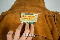 Vintage Levis Big E Suede Leather Brown Western Trucker Jacket Size 38 S