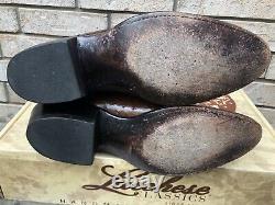 Vintage Lucchese Classics Cigar Brown Cowboy Boot Ostrich San Antonio Made 11 D