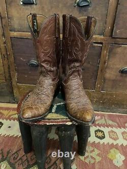 Vintage Lucchese Pirarucu Chocolate Leather Cowboy Boots 10 D