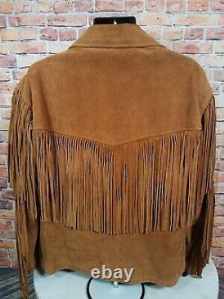 Vintage SCHOTT RANCHER Fringe Brown Leather Jacket Coat Western Mens Size 50 EUC