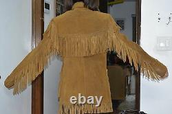 Vintage Schott Rancher Western Fringe suede leather Jacket Coat Size 36