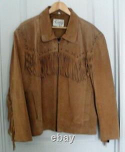 Vintage Scully Mens Size XL Cowboy Western Leather Jacket Coat with Fringe