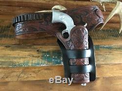 Vintage Western HH Heiser 1919 1955 Floral Carved Holster Gunbelt SA Revolver