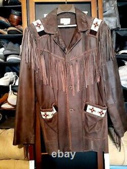 Vintage Western leather jacket SCULLY size 46fringe and beads Brown