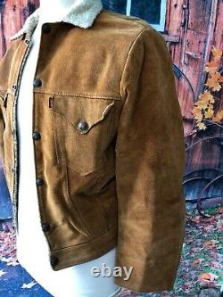 Vtg 1950`s Levi`s Big E Shorthorn Western Wear Leather Suede Fleece Jacket 36 Ch