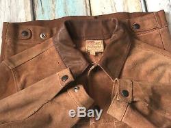 Vtg 1950`s Levi`s Western Wear Brown Suede Stud Up Leather Jacket Uk 36