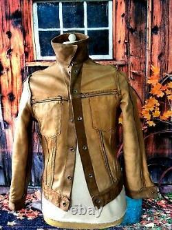 Vtg 1960`s Levi Big E Leather Stud Up Western Trucker Jacket 36 Slim 38ch