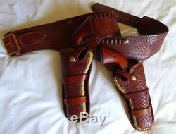 Vtg Eubanks Tooled Leather Western Double Holster Cartridge Belt Set. 22 Cal SA