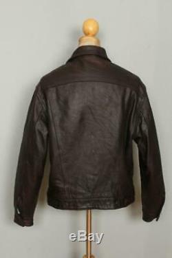 Vtg LEVIS Leather Western Motorcycle Trucker Jacket Medium