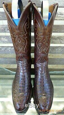 Vtg Lucchese Classics Inlay Horn Back Lizard Rare Exotic Western Boot 10.5 B