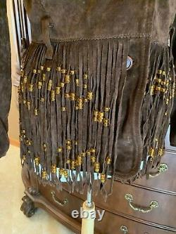 WESTERN MOSCHINO Brown SUEDE LEATHER Jacket FRINGE DESIGNER COUNTRY