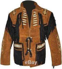 Western Cowboy Men's Bone & Fringed Suede Leather Jacket Camel Brown