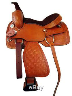 Western Cowboy Saddle Ranch Pleasure Horse Roping Tooled Leather Tack 15 16 17