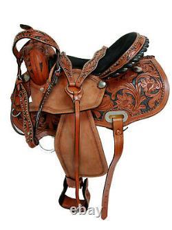 Western Gaited Horse Saddle 15 16 Pleasure Tooled Leather Trail Riding Tack Set