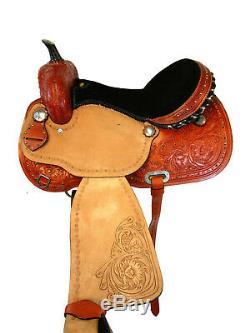 Western Horse Saddle 15 16 17 Barrel Racing Floral Tooled Trail Leather Tack Set