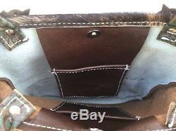 Western Native Turquoise Tooled Leather Handbag Purse with Fringe BOHO Hippie