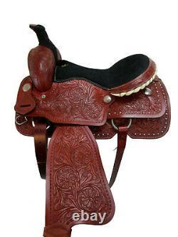 Western Roping Deep Seat Saddle 17 16 Pleasure Horse Floral Tooled Roper Tack