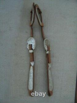 Western Show Wide Cheek Headstall/bridle Tooled Leather & Beaded Silver